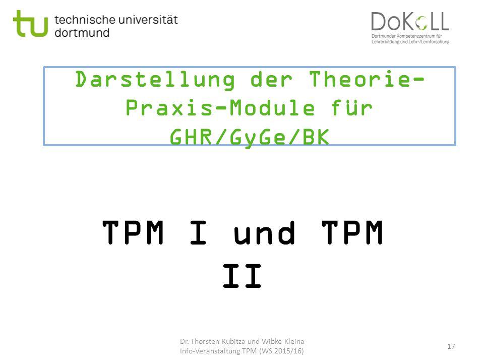 Darstellung der Theorie-Praxis-Module für GHR/GyGe/BK