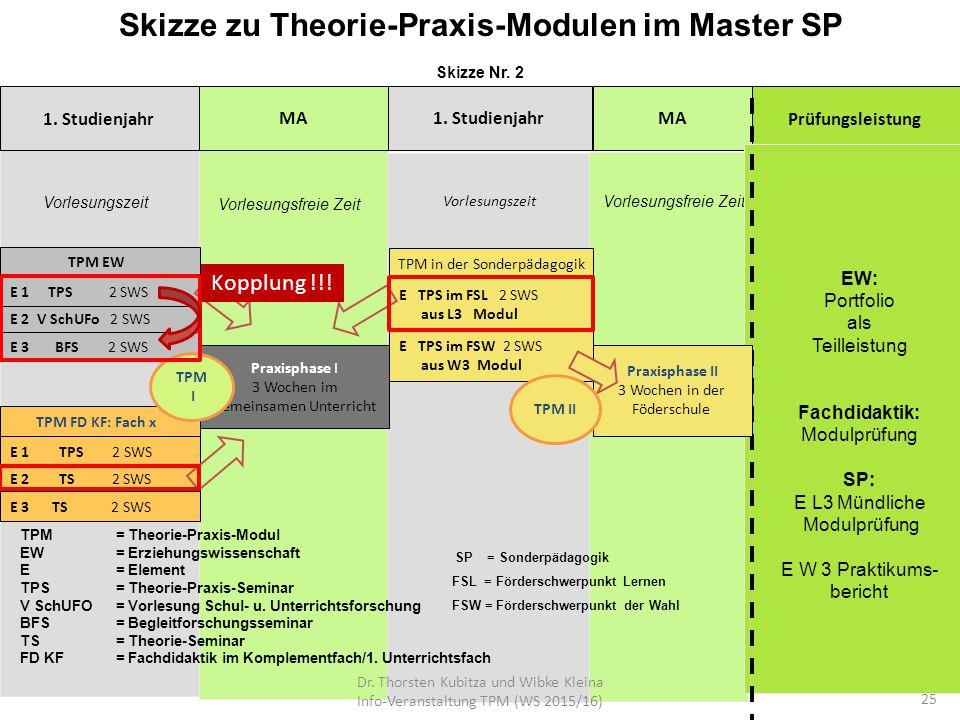 Skizze zu Theorie-Praxis-Modulen im Master SP