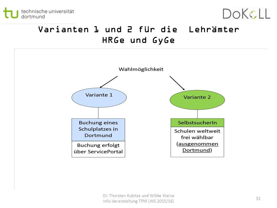 Varianten 1 und 2 für die Lehrämter HRGe und GyGe