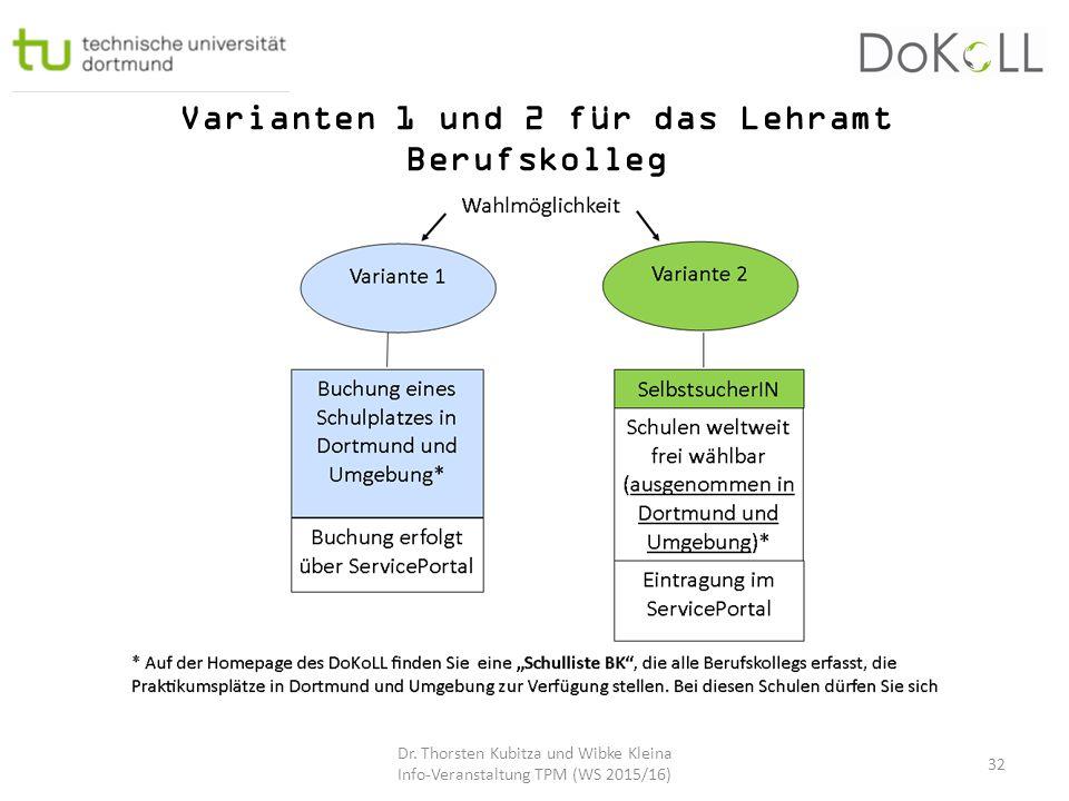 Varianten 1 und 2 für das Lehramt Berufskolleg
