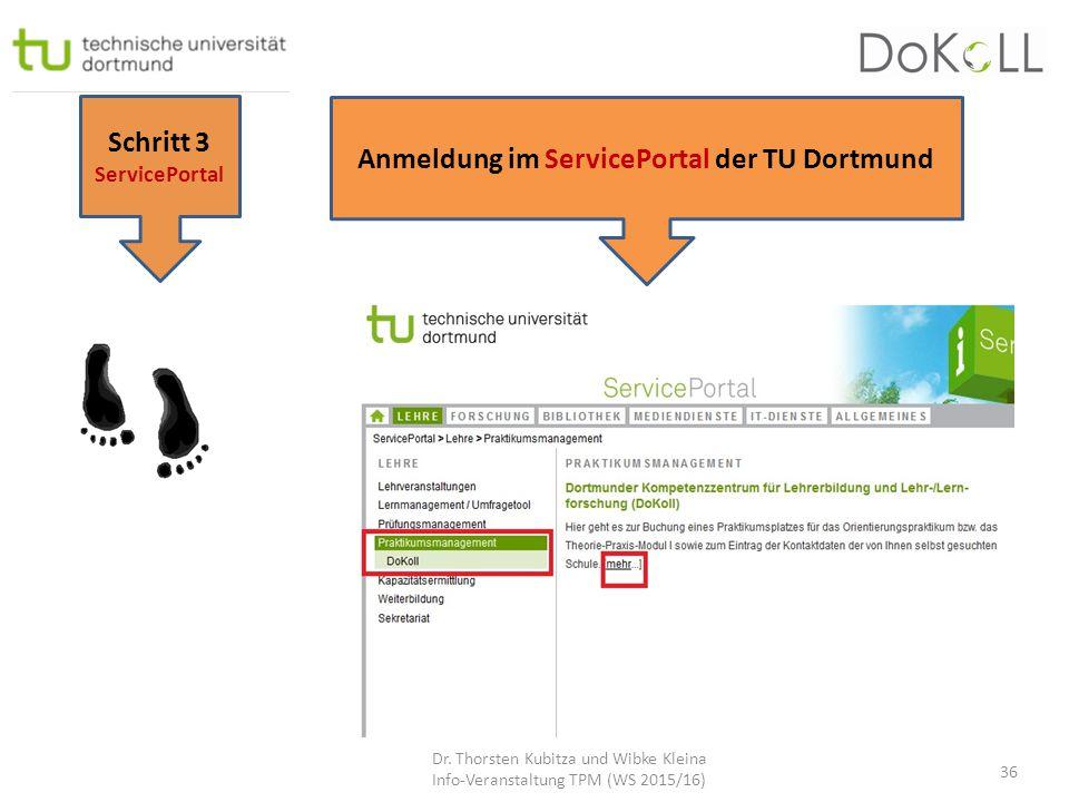Anmeldung im ServicePortal der TU Dortmund