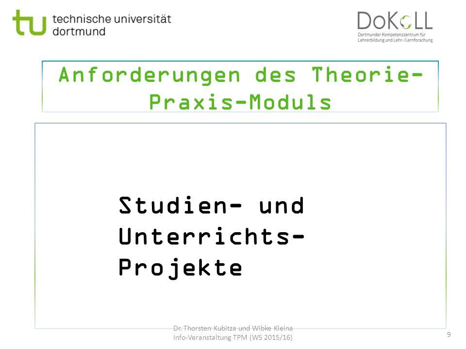 Anforderungen des Theorie-Praxis-Moduls