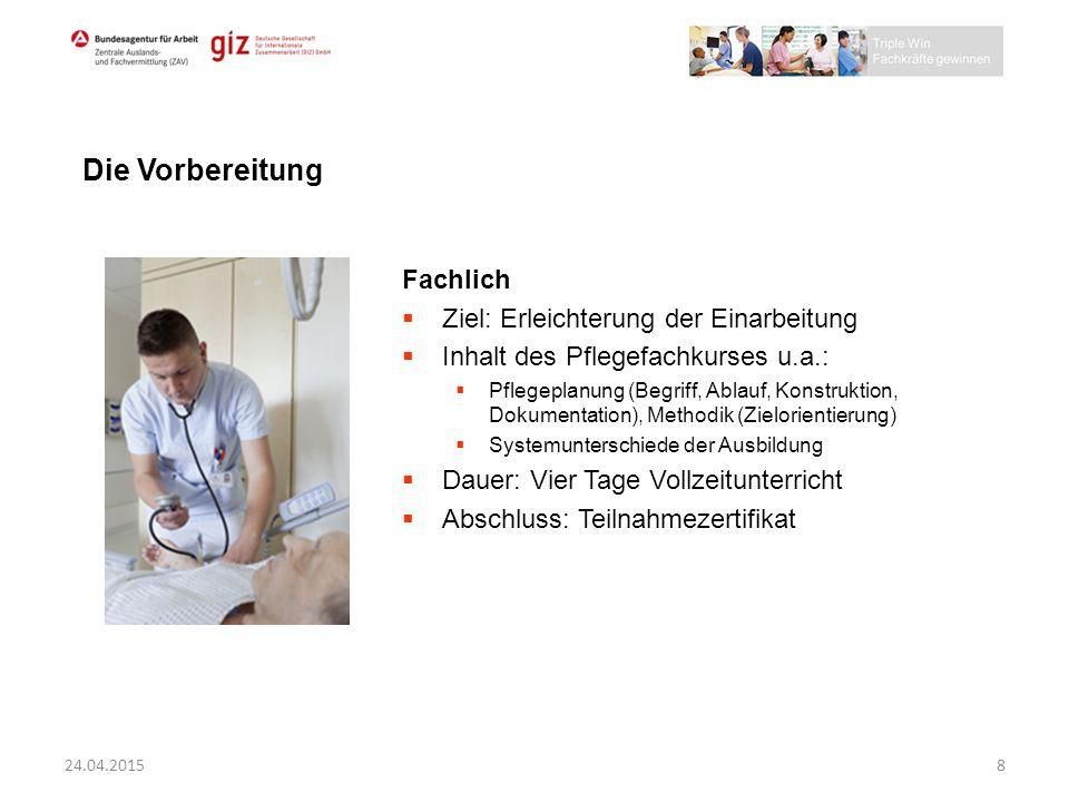 Die Vorbereitung Fachlich Ziel: Erleichterung der Einarbeitung