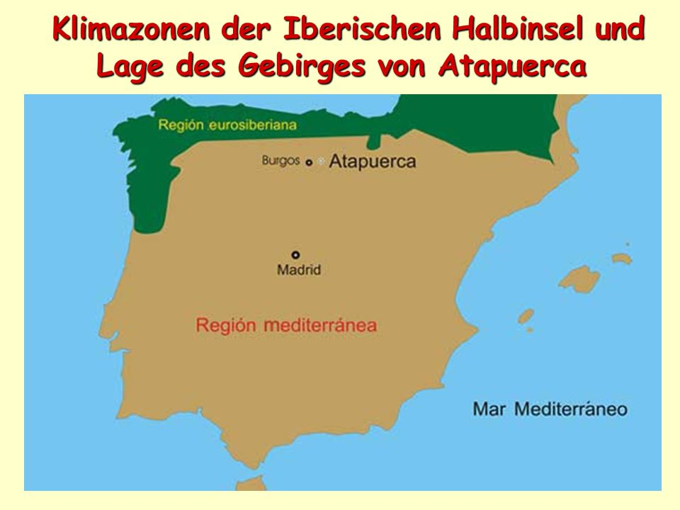 Klimazonen der Iberischen Halbinsel und Lage des Gebirges von Atapuerca