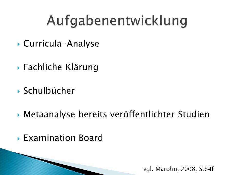 Aufgabenentwicklung Curricula-Analyse Fachliche Klärung Schulbücher