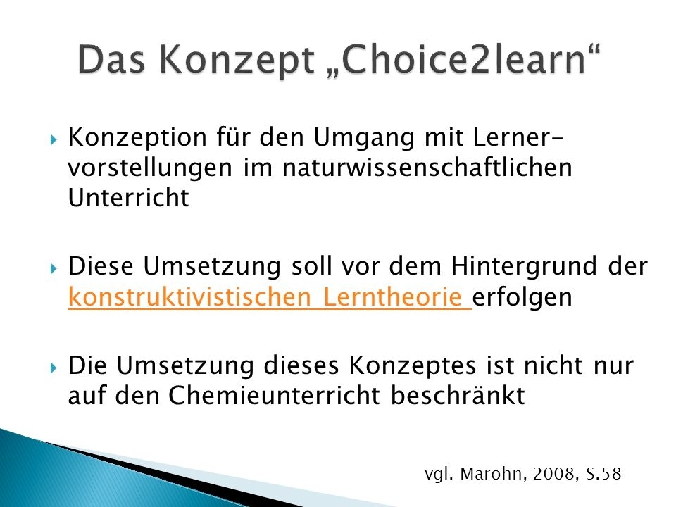 "Das Konzept ""Choice2learn"