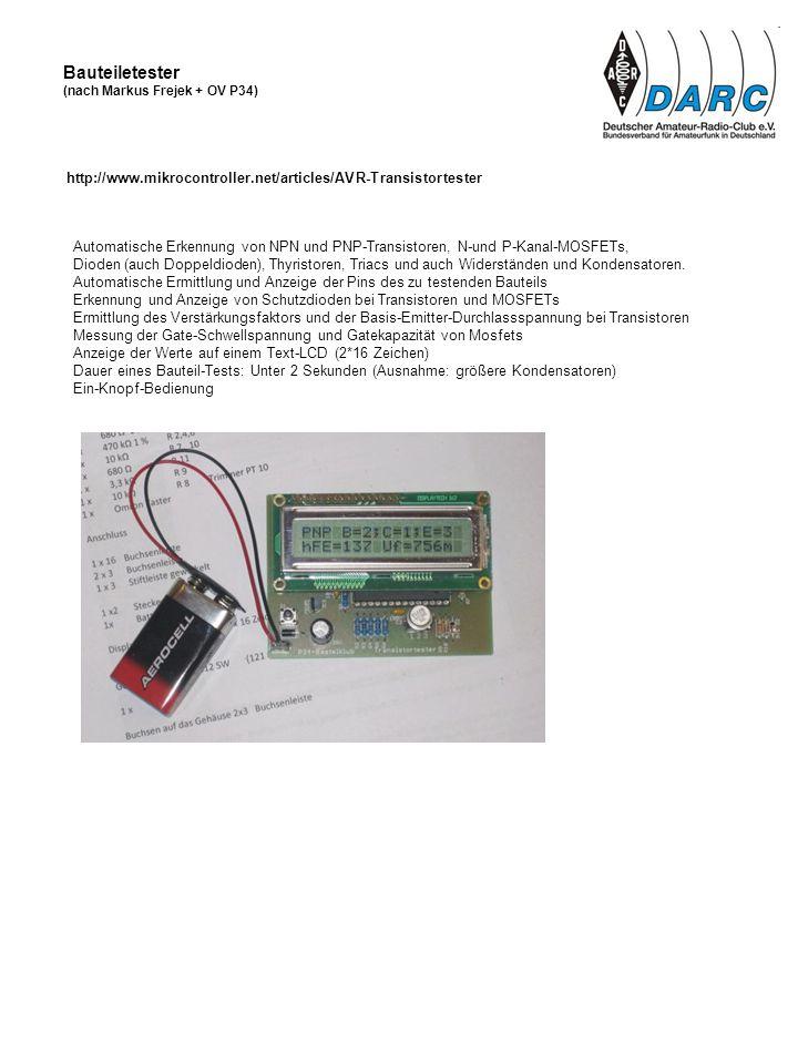 Bauteiletester (nach Markus Frejek + OV P34) http://www.mikrocontroller.net/articles/AVR-Transistortester.