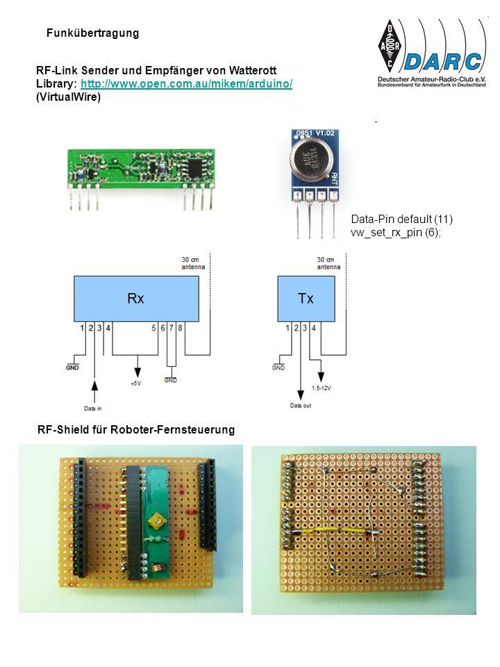 Funkübertragung RF-Link Sender und Empfänger von Watterott. Library: http://www.open.com.au/mikem/arduino/
