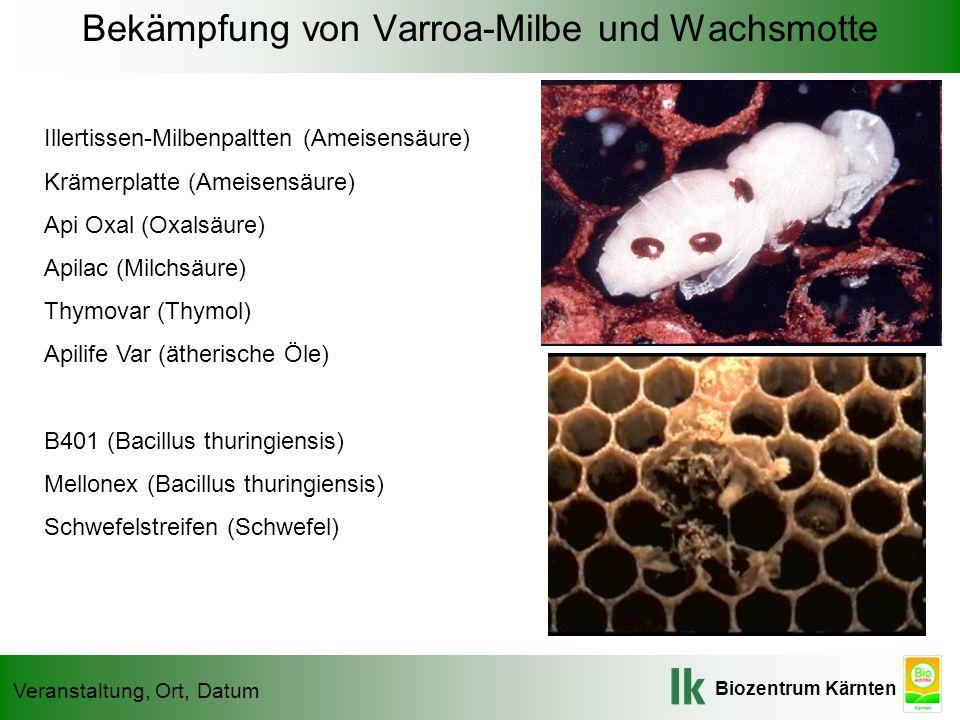 Bekämpfung von Varroa-Milbe und Wachsmotte
