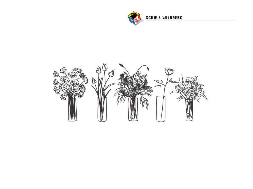 Man nehme vier Vasen, verschiedene Blumen – In welche Vase würden Sie die letzte Blume stellen – weshalb.