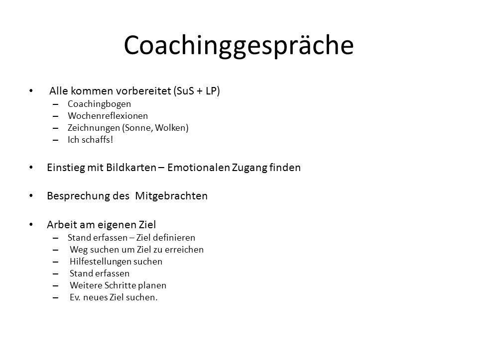 Coachinggespräche Alle kommen vorbereitet (SuS + LP)