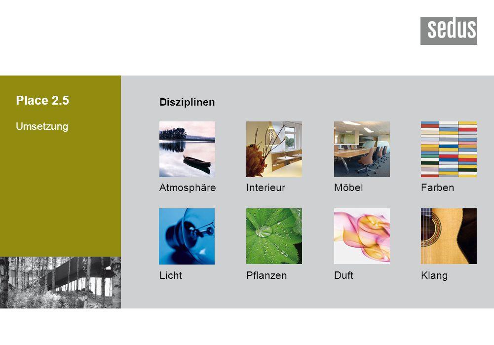 Place 2.5 Disziplinen Umsetzung Atmosphäre Interieur Möbel Farben