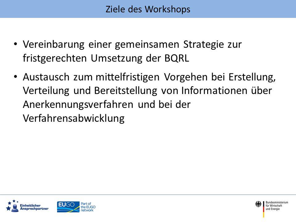 Ziele des Workshops Vereinbarung einer gemeinsamen Strategie zur fristgerechten Umsetzung der BQRL.