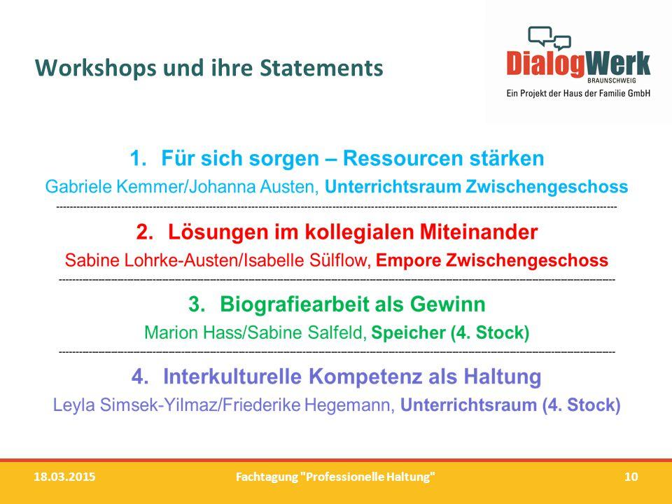 Workshops und ihre Statements