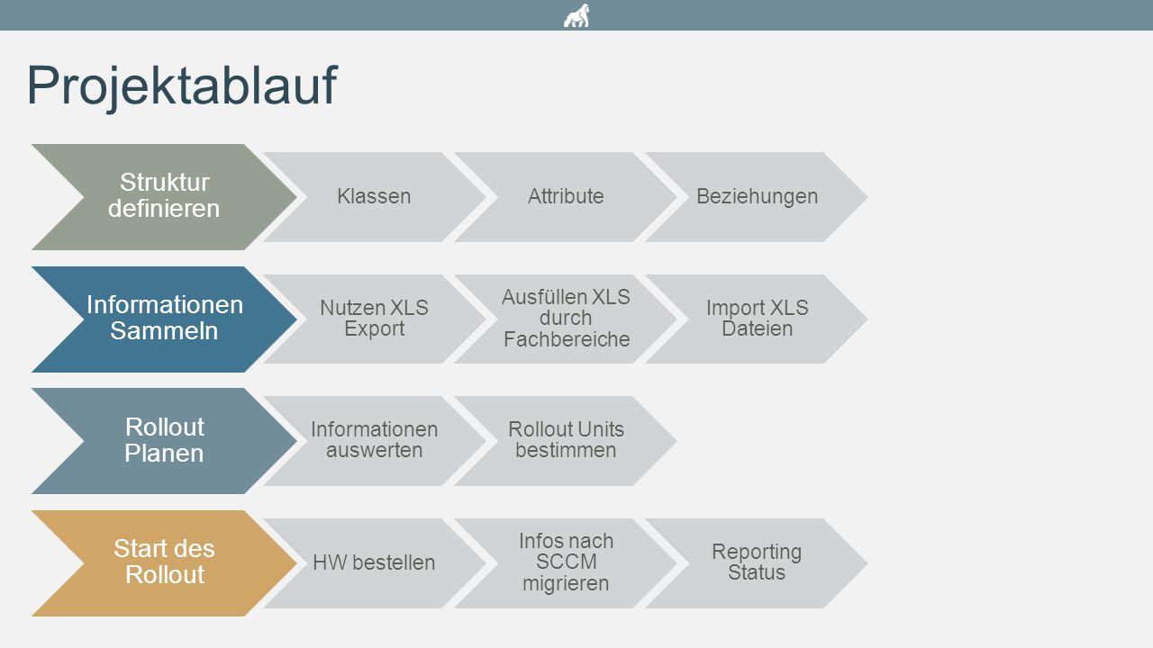 Projektablauf Struktur definieren Informationen Sammeln Rollout Planen
