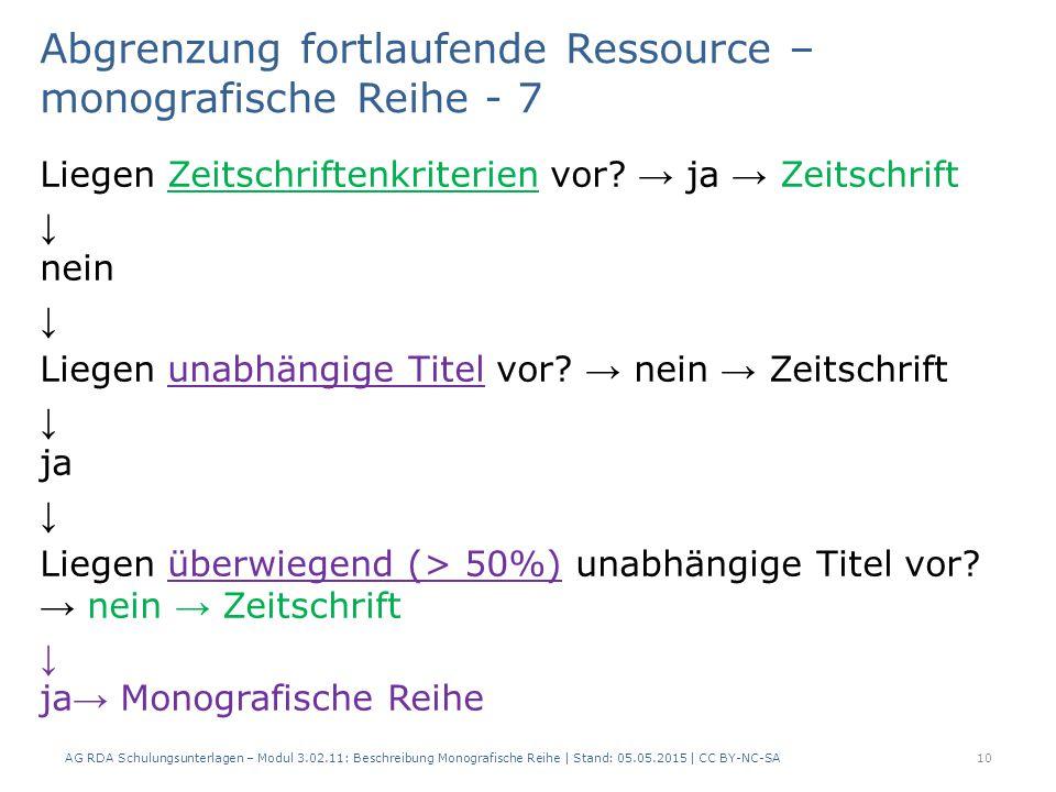 Abgrenzung fortlaufende Ressource – monografische Reihe - 7