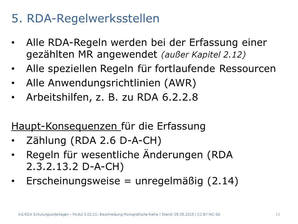 5. RDA-Regelwerksstellen