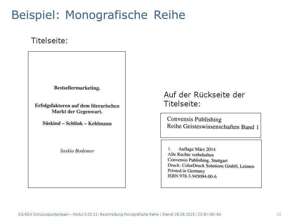 Beispiel: Monografische Reihe
