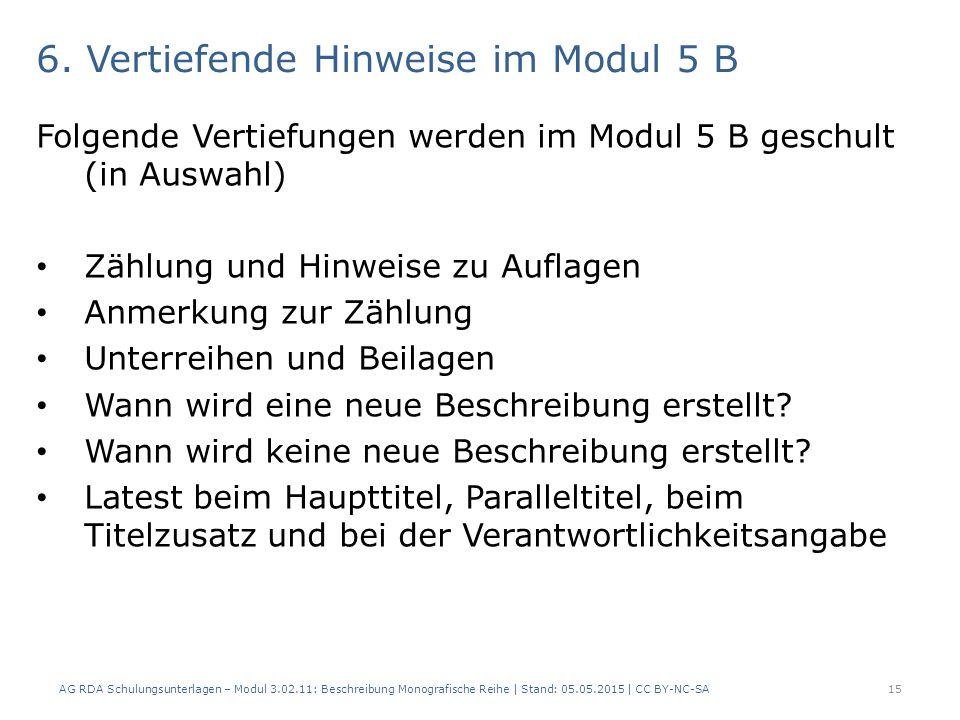 6. Vertiefende Hinweise im Modul 5 B
