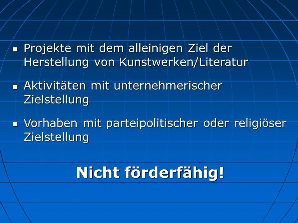SPF 26.10.10. Projekte mit dem alleinigen Ziel der Herstellung von Kunstwerken/Literatur. Aktivitäten mit unternehmerischer Zielstellung.