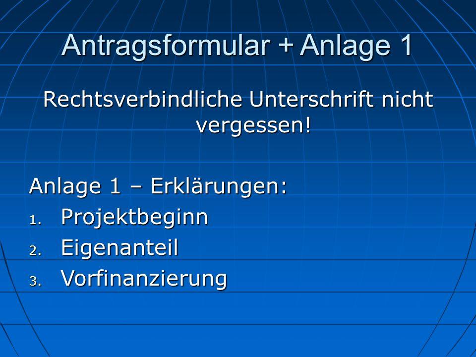 Antragsformular + Anlage 1
