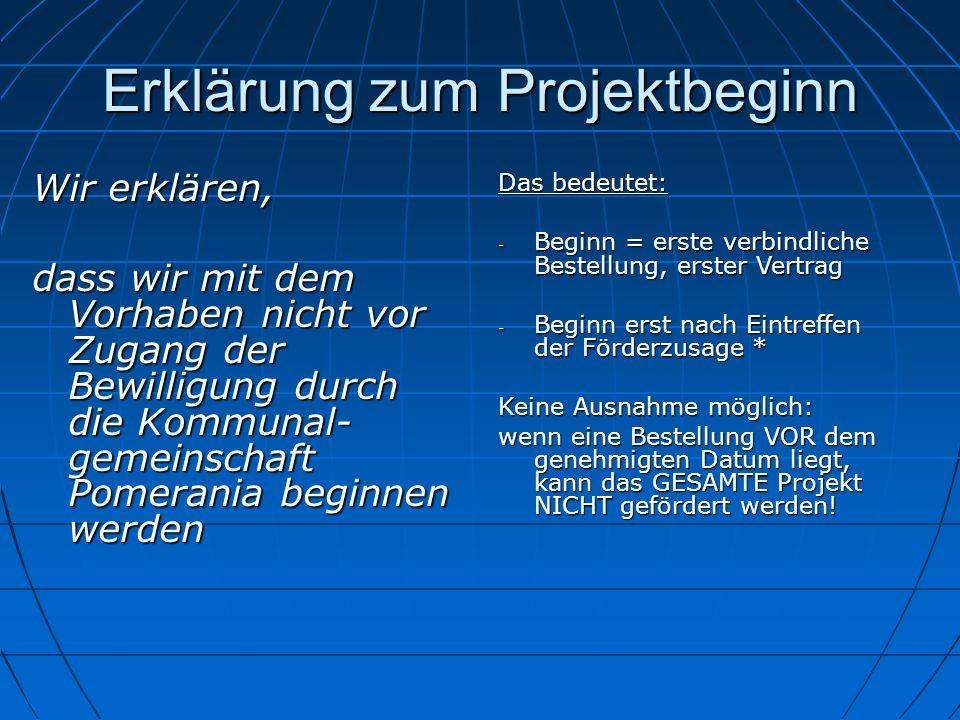 Erklärung zum Projektbeginn
