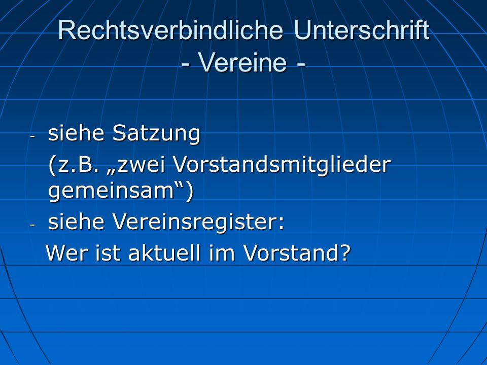 Rechtsverbindliche Unterschrift - Vereine -