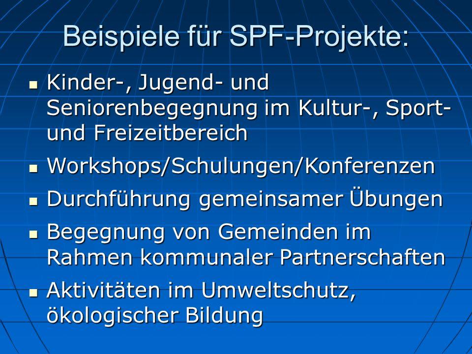 Beispiele für SPF-Projekte: