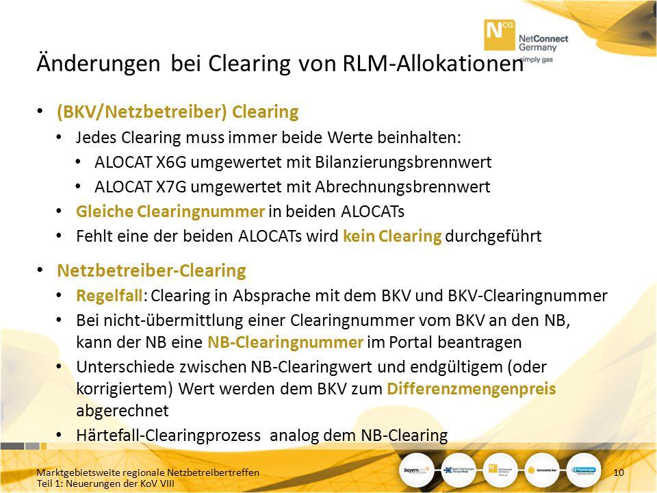 Änderungen bei Clearing von RLM-Allokationen