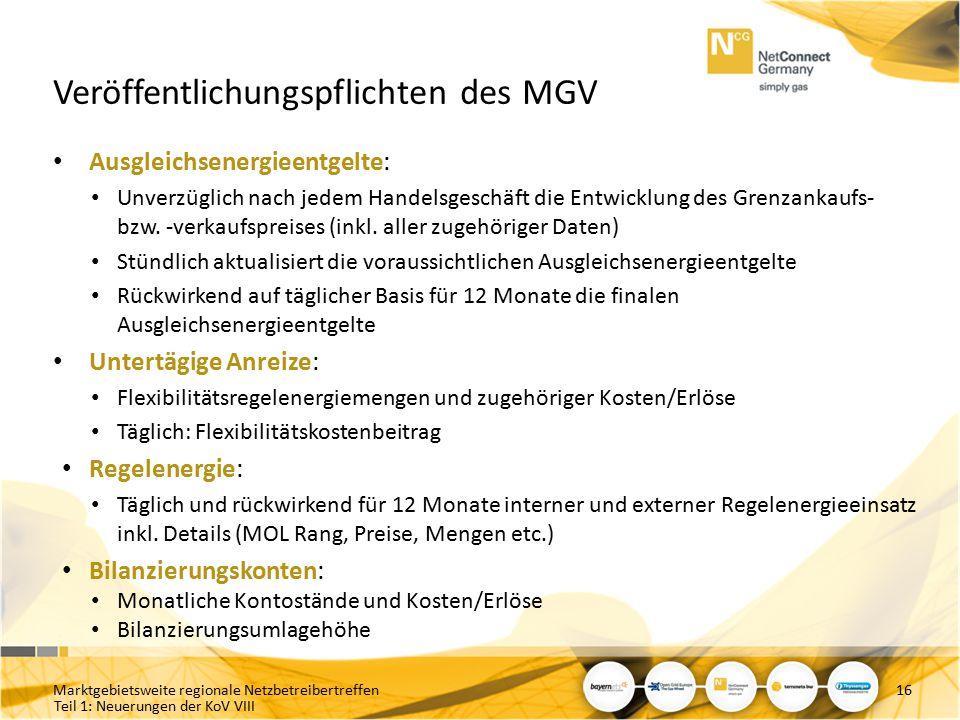 Veröffentlichungspflichten des MGV
