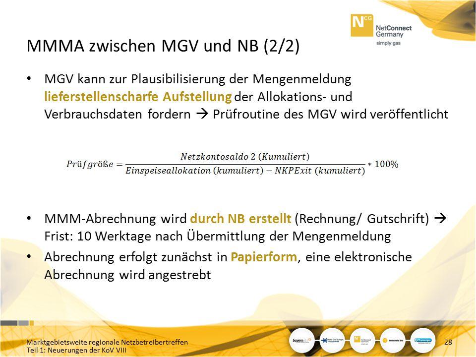 MMMA zwischen MGV und NB (2/2)