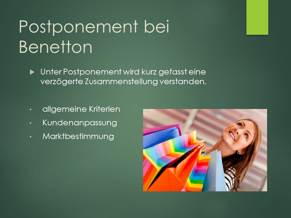 Postponement bei Benetton