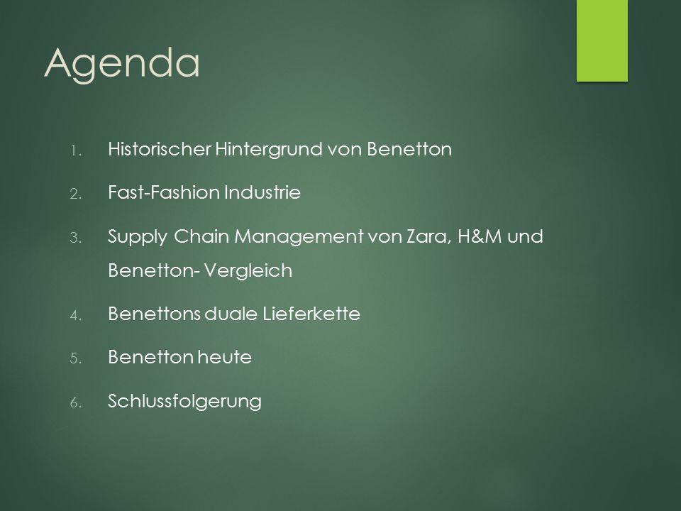 Agenda Historischer Hintergrund von Benetton Fast-Fashion Industrie