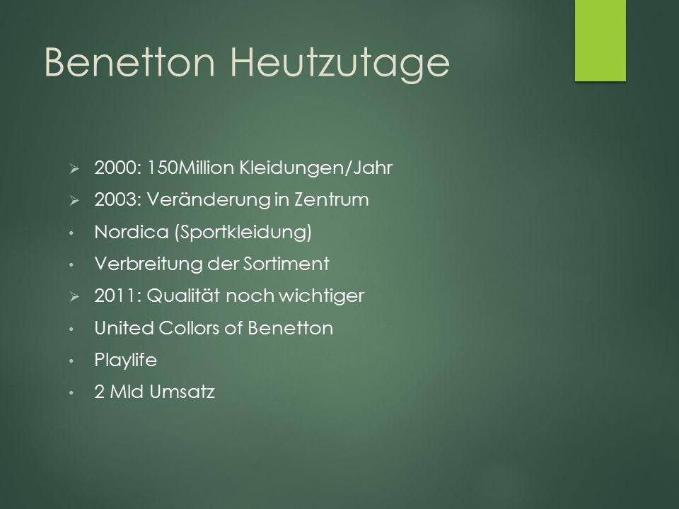 Benetton Heutzutage 2000: 150Million Kleidungen/Jahr