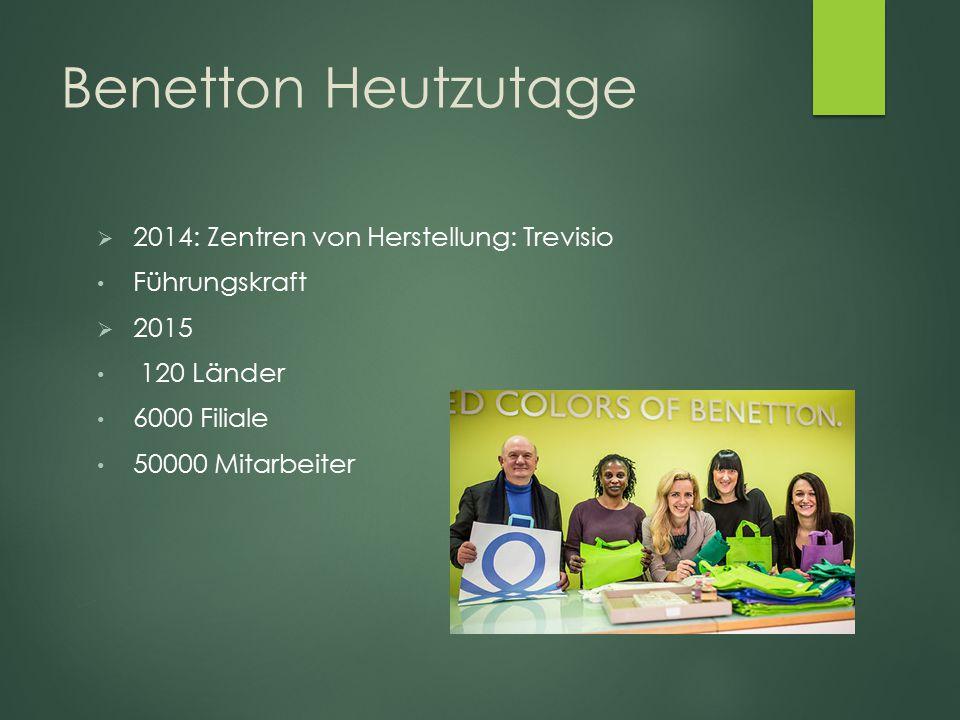 Benetton Heutzutage 2014: Zentren von Herstellung: Trevisio