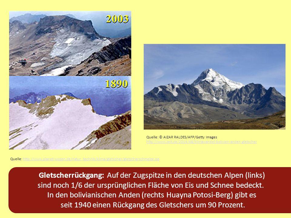 Gletscherrückgang: Auf der Zugspitze in den deutschen Alpen (links)