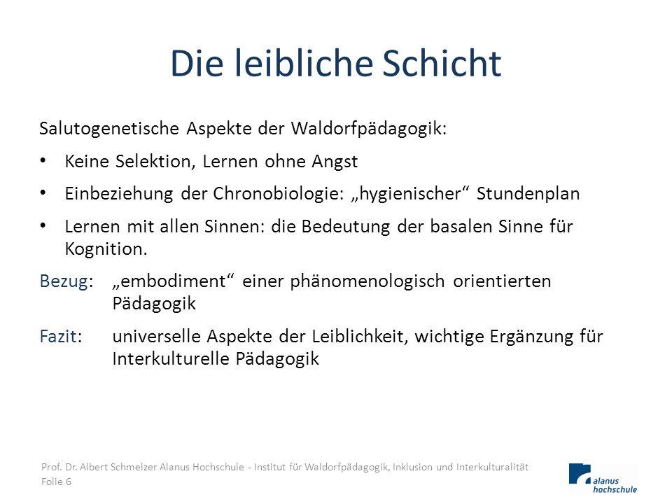Die leibliche Schicht Salutogenetische Aspekte der Waldorfpädagogik:
