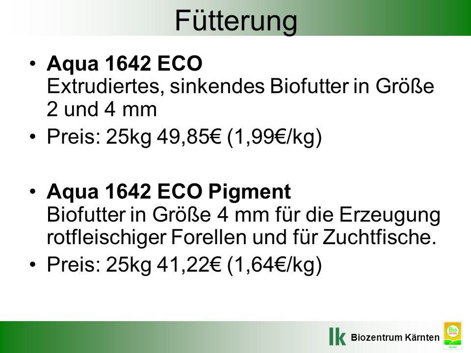 Fütterung Aqua 1642 ECO Extrudiertes, sinkendes Biofutter in Größe 2 und 4 mm. Preis: 25kg 49,85€ (1,99€/kg)