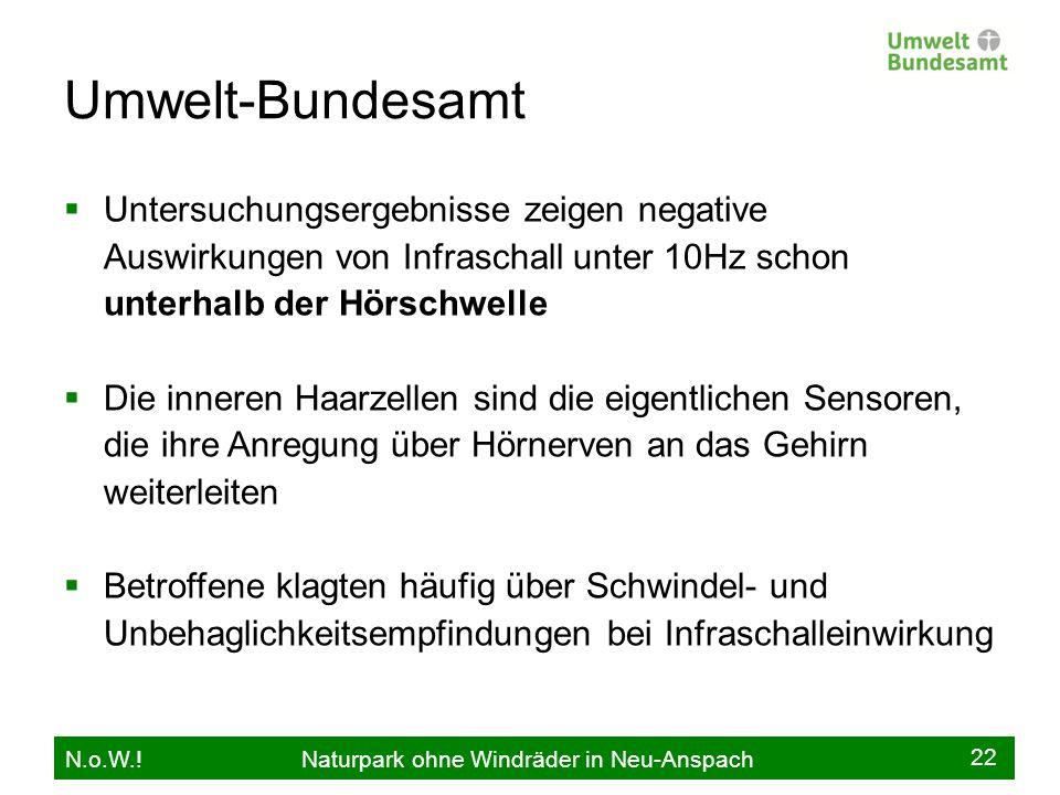 Umwelt-Bundesamt Untersuchungsergebnisse zeigen negative Auswirkungen von Infraschall unter 10Hz schon unterhalb der Hörschwelle.
