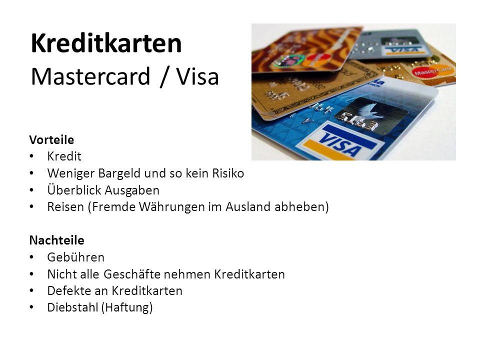 Kreditkarten Mastercard / Visa