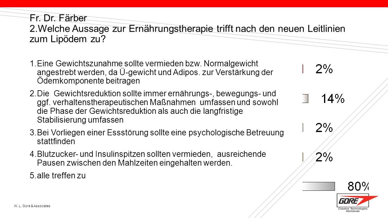 Fr. Dr. Färber 2.Welche Aussage zur Ernährungstherapie trifft nach den neuen Leitlinien zum Lipödem zu