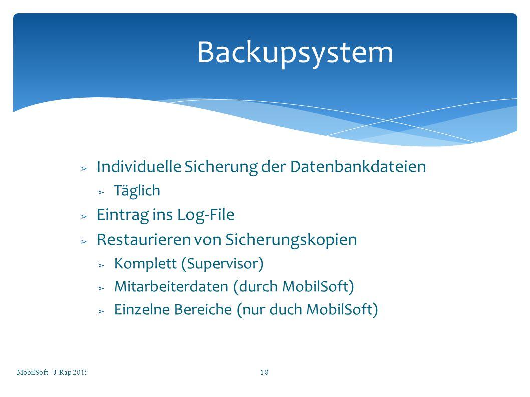 Backupsystem Individuelle Sicherung der Datenbankdateien