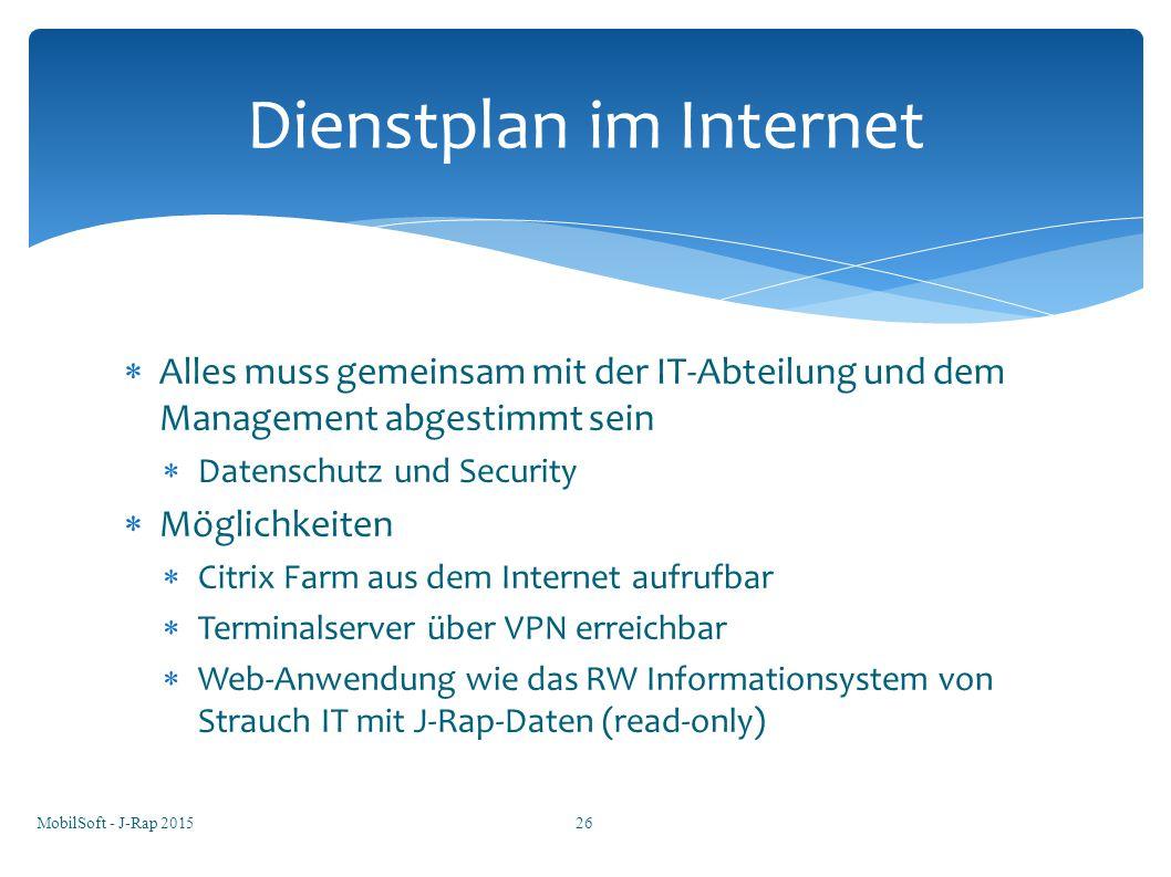 Dienstplan im Internet