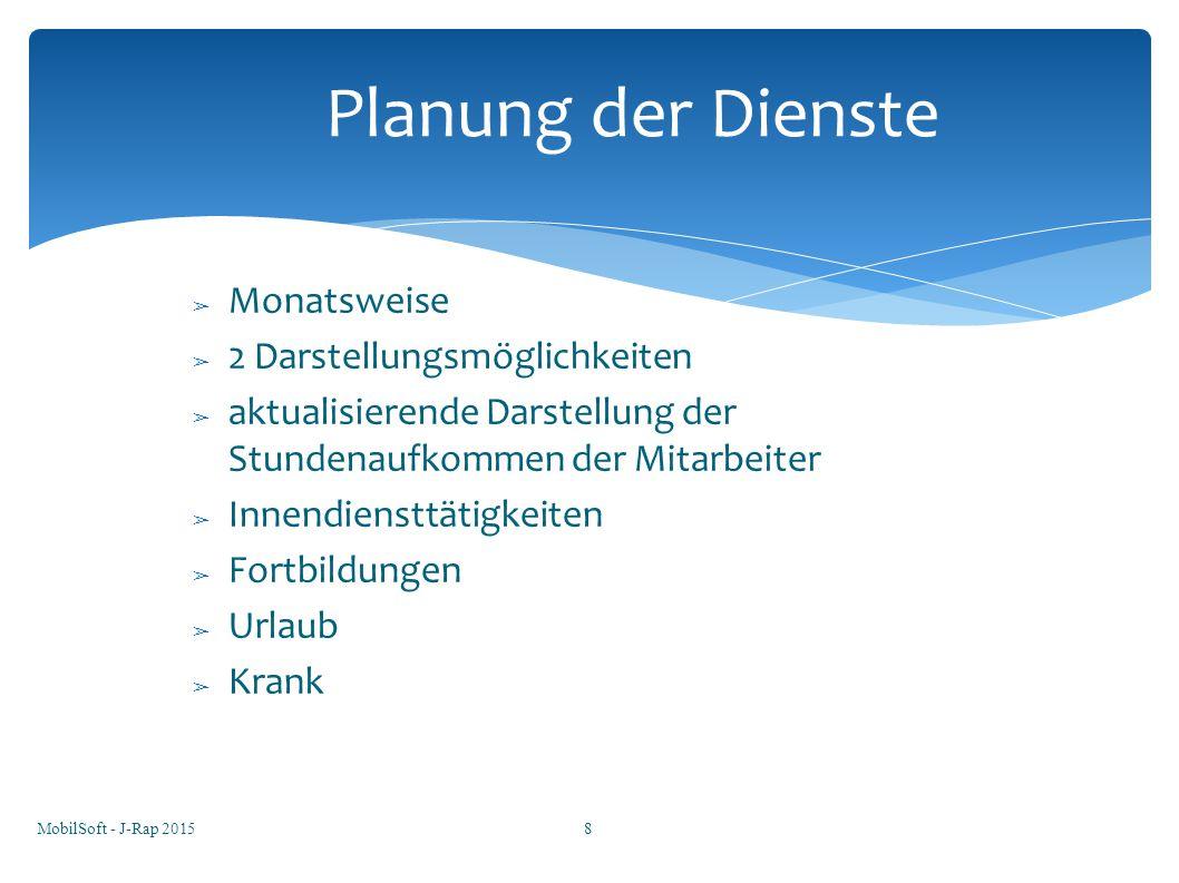 Planung der Dienste Monatsweise 2 Darstellungsmöglichkeiten