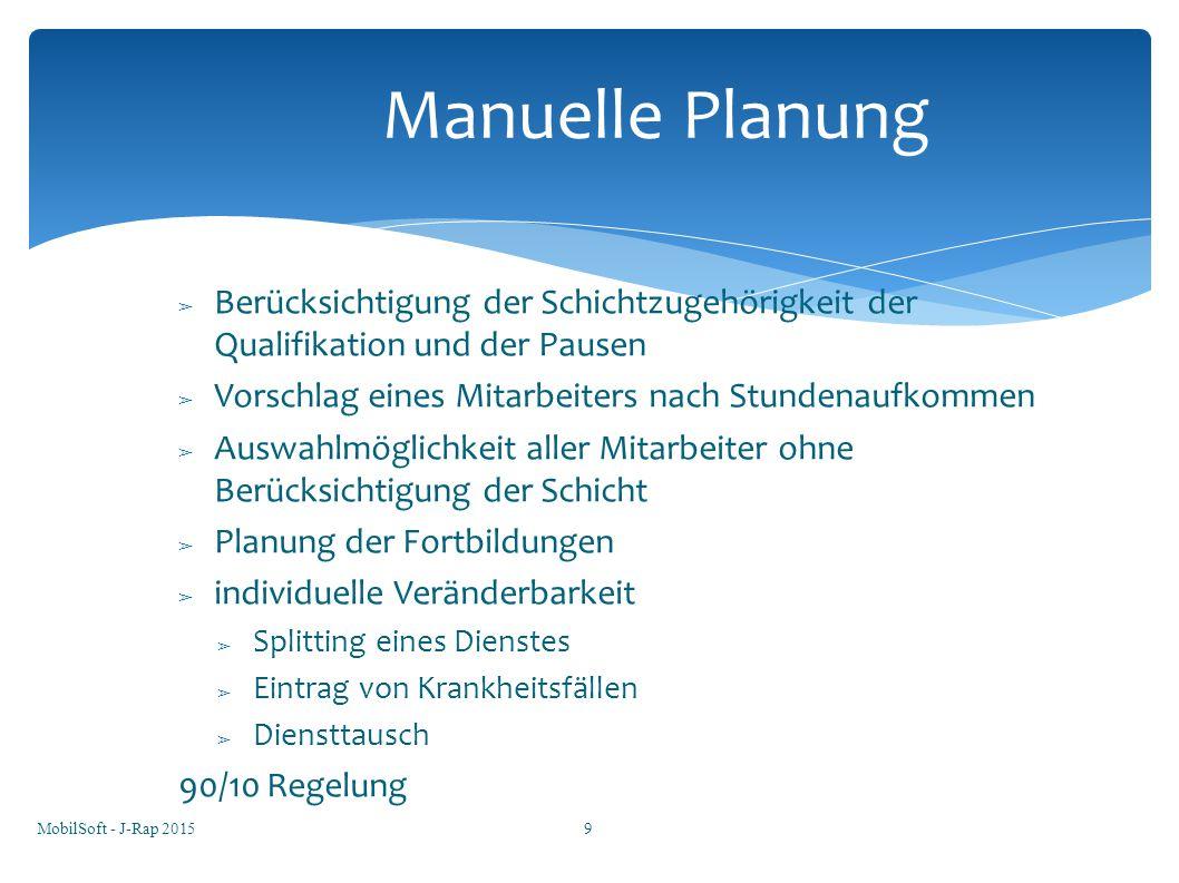 Manuelle Planung Berücksichtigung der Schichtzugehörigkeit der Qualifikation und der Pausen. Vorschlag eines Mitarbeiters nach Stundenaufkommen.