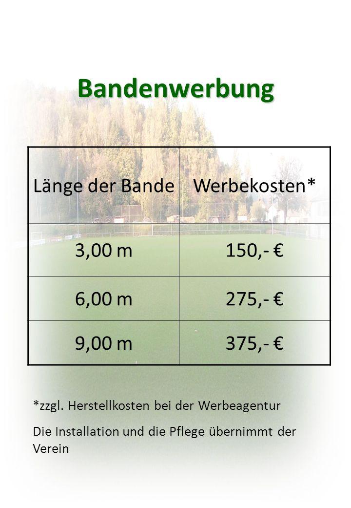 Bandenwerbung Länge der Bande Werbekosten* 3,00 m 150,- € 6,00 m