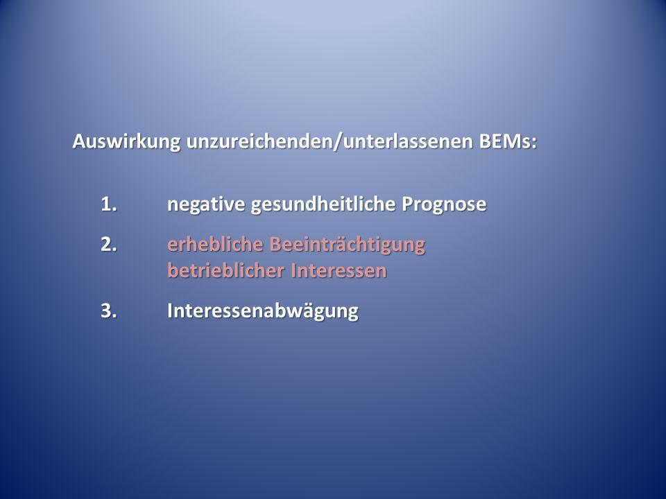 Auswirkung unzureichenden/unterlassenen BEMs: