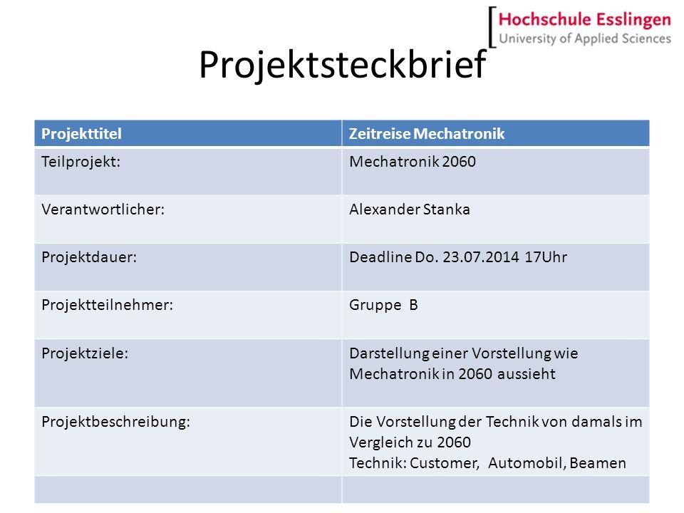 Projektsteckbrief Projekttitel Zeitreise Mechatronik Teilprojekt: