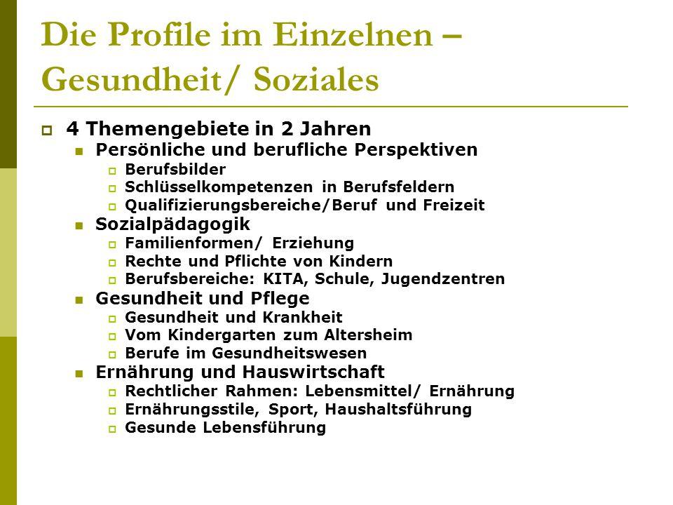 Die Profile im Einzelnen – Gesundheit/ Soziales