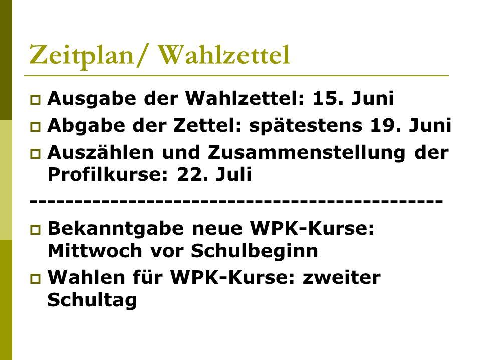 Zeitplan/ Wahlzettel Ausgabe der Wahlzettel: 15. Juni